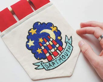 Dartmouth at Night Hand Embroidered Banner Wall Hanging