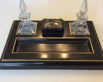 Antique black lacquer inkwell desk set with mother of pearl stamp box
