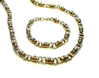 gold plated necklace and bracelet gold plated necklace and bracelet, long Chain 50 years,