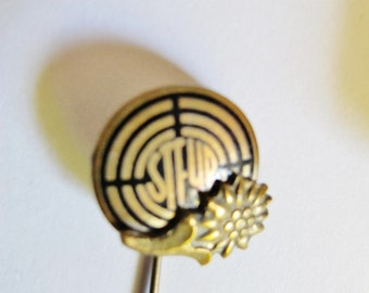 "EDELWEISS Lapel Pin on ""STEYR"" Shooting Target Icon of the famous Steyrerwerke, Austria"