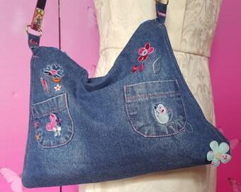 Denim Shoulder Bag with Applique Detail
