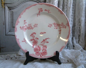 Antique french ironstone red transferware large round serving platter. French transferware. Jeanne d'Arc living. Gustavian home decor.
