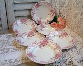 Set of 6 Antique french red transferware soup plates. French transferware. Jeanne d'Arc living. Gustavian home. french shabby chic