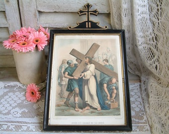 Antique french framed color lithograph of Stations of the Cross. Jesus is charged with his cross. Napolean III. Christian home decor.