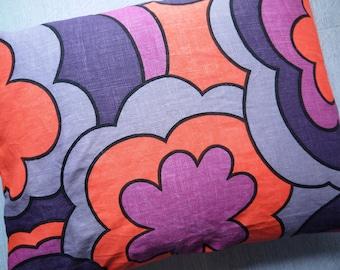 Vintage Tea Towel Cushion Cover - Violet Clouds