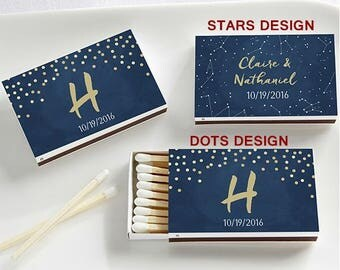 Set of 50 Matchbox Wedding Favors with Under The Stars Design - Custom Wedding Matches (28257-CN)