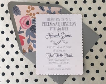 Bridesmaid Brunch, Bridesmaid Luncheon Invitation, Bridal Shower Invitation, pale pink and grey floral