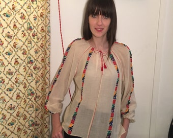 Vintage 70s blouse shirt embroidery