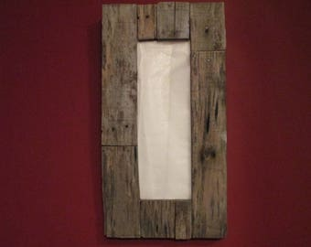 Recycled natural weathered old wood driftwood look oblong / rectangle mirror