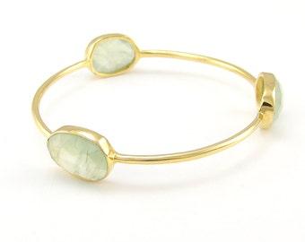 Prehnite Bangle - Gemstone Bangle Bracelet - Stacker Bangle - Multi Colored Bangles - Stacking Bangles - Gold Bangle