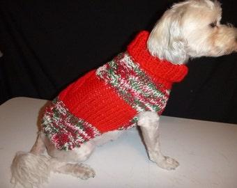Hand knit Christmas Dog Sweater