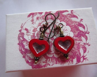 Czech Glass Heart Dark Red Earrings Little Red with Silver Picasso Glass Earrings Secure Hypoallergenic Niobium Ear Wires Pretty and Funky