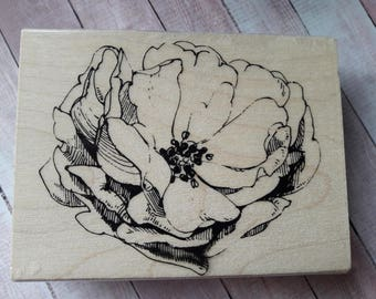 Antique Rose Flower Wood Mounted Rubber Stamp Scrapbooking & Paper Craft Supplies