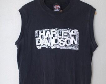 vintage harley davidson spokane washington  black t shirt muscle tank *
