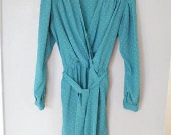 vintage turquoise tie secretary dress *