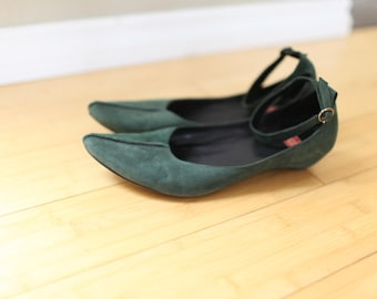 vintage ankle wrap green suede wedge womens 81/2