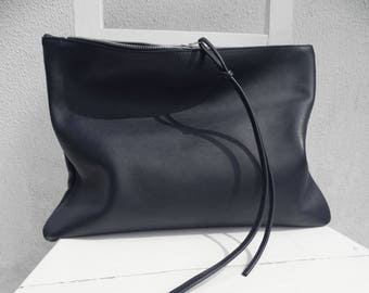 Oversize Navy Leather Clutch/Big Leather Clutch/Large Navy Leather Clutch/Zipper Clutch/Oversize Leather Case/Blue Bag
