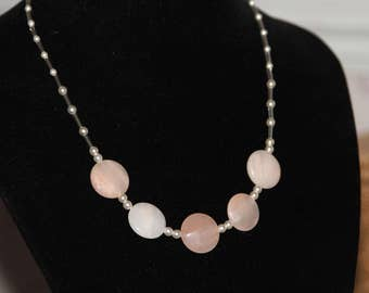 Pale Pink Moonstone and Pearl necklace