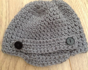 Baby boys newsboy style crochet hat photo prop newborn
