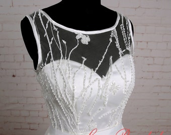Flowy A line Ivory Chiffon Lace Wedding Dress Beach Wedding Dress with Illusion Neckline