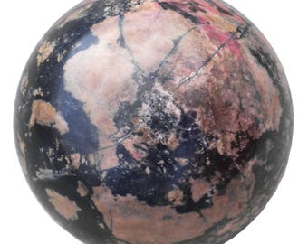 Rhodonite Sphere - 5.5 Inches - Over ** 16 pounds ** - Huge! Display Specimen