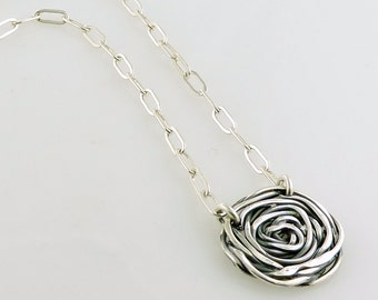Woven Rose Necklace Handmade in Oxidized Sterling Silver
