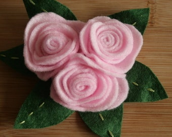 Pale Pink Rose Hair Ornament/Brooch
