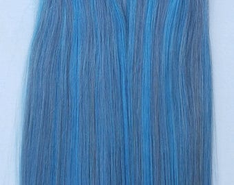 """18"""" (50grs,20pcs OR 100grs,40pcs),Highlighted Human Tape In Hair Extensions #Blue Sky/Dark Silver"""