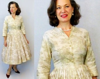 50s Dress / 1950s Dress / 50s Day Dress / 1950s Day Dress / New Look  / Toile Dress / Shirtdress / Shirt Dress / Shirtwaist / W 27""