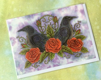 Two Ravens Greetings Card - Fantasy Art Painting Pagan Birthday - with envelope