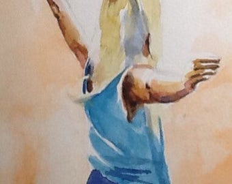 """Original Watercolour Painting,""""Reaching for the Light"""", 6x9 free shipping North America and UK."""