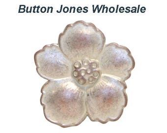 50 pcs. Hibiscus 3/4 inch ( 19 mm ) Metal Buttons White Copper Color