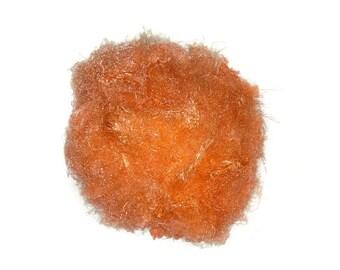 Banana Silk Fiber - Clementine Orange - vegan eco friendly loose textured spinning fiber felting papermaking doll hair crafts