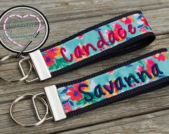 Personalized Floral Print Key Fob - Floral Wristlet - Monogrammed Keychain - Sweet 16 Gift - Bridesmaid Gift - Stocking Stuffer