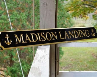 Custom Carved Quarterboard sign with Anchor image - Add your name or house name