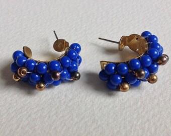 Blue Beaded Pierced Earrings - Vintage Jewellery - Gifts for Her