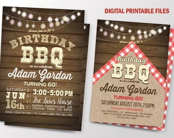 Birthday BBQ Invitation, Wood Birthday BBQ Invitation,  BBQ Birthday Invitation, Digital Printable Files