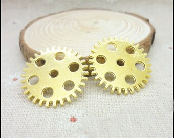 10 pcs 25mm  gold gears wheels  gearwheels Watch movements connectors links Charms Pendants