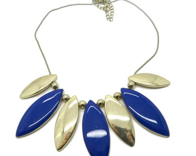 Vintage Blue and Goldtone Bib Necklace, Rolling Discs Necklace