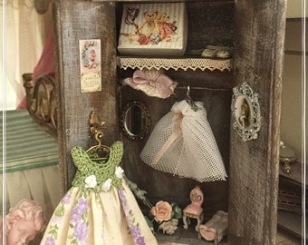 1:12 Shabby miniature wood wardrobe for dollhouse with all contents.S