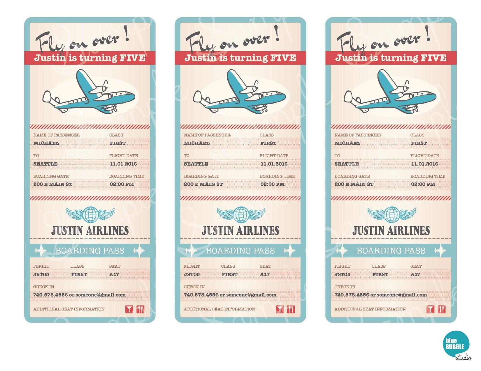 Airplane Invitation, Airplane Boarding Pass Invitation, Airplane ...