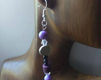 PROMISE - Long Bead Drop Earrings, Affirmation Jewelry, Cause Jewelry, Benefits Homeless Mothers of Atlanta