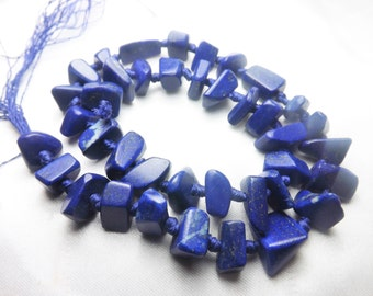 100% Natural Matte Finish Nugget Lapis Lazuli Beads Strand Necklace Afghanistan  LP1000