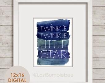 Twinkle Twinkle Little Star | Instant Printable digital Illustration | Home Decor LostBumblebee | 12x16