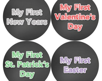 Baby Milestone Stickers Holiday Edition  Baby's First Holiday - Monthly Baby Stickers Boy - Baby Holiday Photo - Baby's First Stickers Set 5