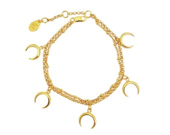 Claw summer claw channels multiples and charm bracelet in Sterling Silver gold plated