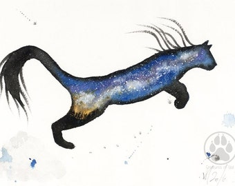 ORIGINAL Watercolour Painting - Milky Way Puma.