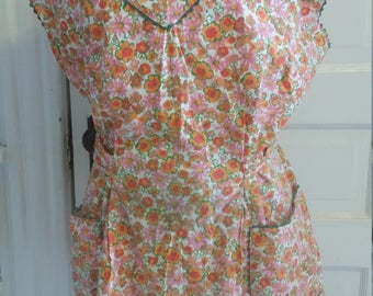 Vintage Floral Smock Apron Includes Free Shipping