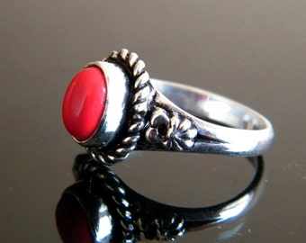 Red Coral Ring, Brass Ring, Silver Plated Ring, Silver Brass Ring, Gift For Her, Women Jewelry, Statement Ring, Ring size-8 SH-1957