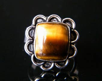Natural Tiger Eye Ring, Silver Plated Ring, Tiger eye Gemstone Ring, Gift For Her, Ring size - 8 (US), Adjustable Ring SH-2645